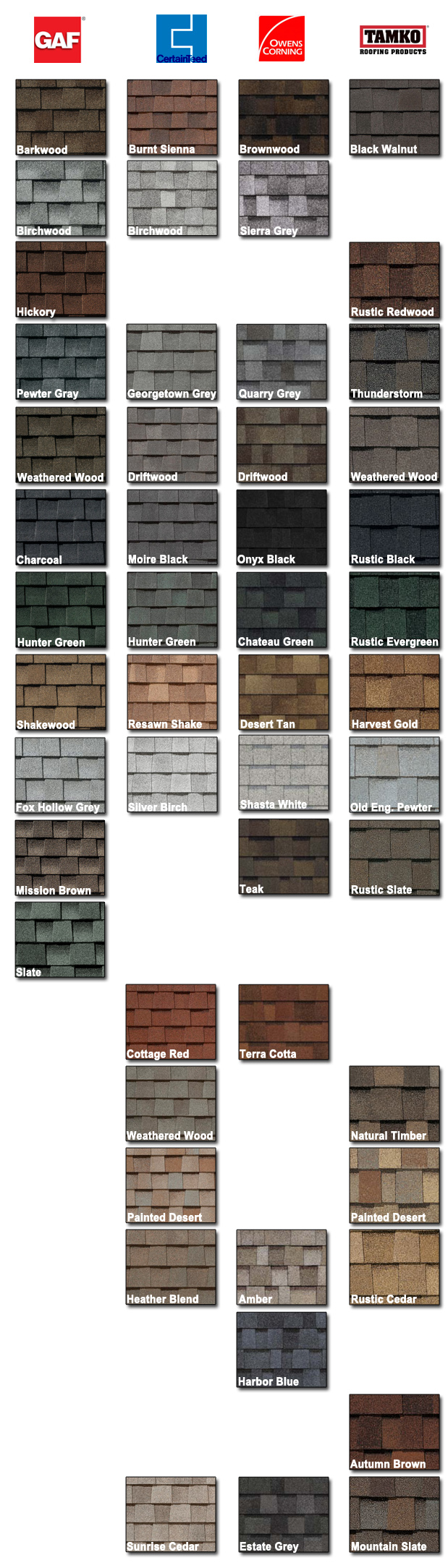 Trr Roofing Shingle Roofing Gt Color Comparison Chart